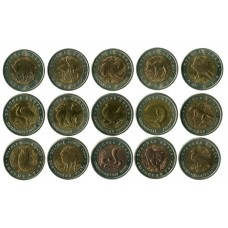 """Полный набор """"Красная книга"""" 1991-1994 гг. 15 монет."""